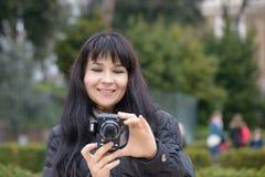 Tourist girl in Piazza Bocca della Verità (English: Square of t Stock Photography