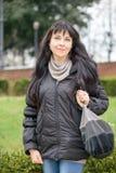 Tourist girl in Piazza Bocca della Verità (English: Square of t Royalty Free Stock Photography