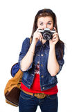 Tourist girl in the picture Royalty Free Stock Photos