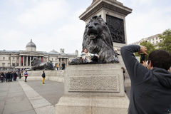 Tourist girl poses with lion statue on trafalgar square in londo Royalty Free Stock Photos