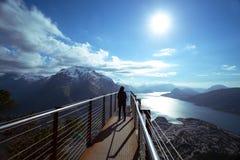 Tourist girl and Romsdalsfjorden Royalty Free Stock Photos