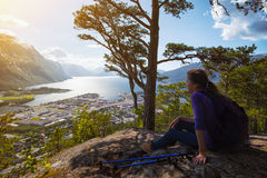 Tourist girl and Romsdalsfjorden Royalty Free Stock Photography