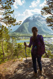 Tourist girl and Romsdalsfjorden Stock Photo