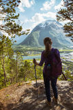 Tourist girl and Romsdalsfjorden Royalty Free Stock Image