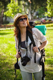 Tourist Girl Sightseeing Nature Stock Image