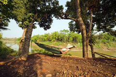 tourist girl sleeping on hammock, luang prabang, laos Royalty Free Stock Photos