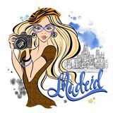 Tourist girl in Spain. Madrid. Photographs the sights. Vector. Travel. Tourist girl in Spain. Madrid. Photographs the sights. Vector Travel stock illustration