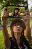 Tourist Girl Taking Selfie Royalty Free Stock Images