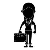 Tourist girl travel map and suitcase pictogram vector illustration