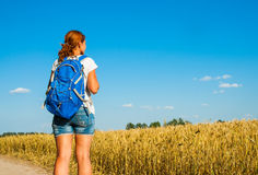 Tourist girl traveling along Europe in summer season Royalty Free Stock Photos