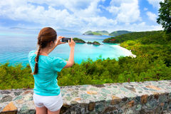 Tourist girl at Trunk bay on St John island Stock Photo