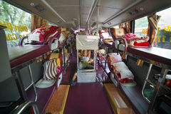Tourist girl waiting departure in Sleeping bus interior, Vietnam stock photos