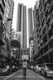 Tourist girl walking in Hong Kong stock photo