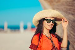 Tourist Girl Wearing Fashion Sunglasses in Summer Holiday Royalty Free Stock Photography