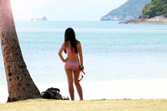Free Tourist Girl With A Diving Mask On The Snorkeling Area Near The Stock Image - 97163641
