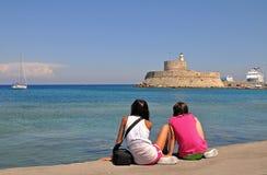 Tourist girls on rhodes royalty free stock photos