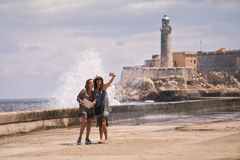 Tourist Girls Taking Selfie With Mobile Phone In Havana Cuba Royalty Free Stock Images