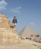 Tourist at the Giza Pyramids Royalty Free Stock Photography