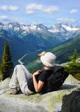 Tourist at Glacier National Park Stock Photography