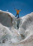 Tourist on glacier Royalty Free Stock Image