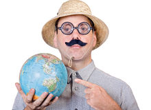 Tourist with globe Stock Photos
