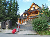 The tourist goes to a country house to Zakopane, Poland Stock Image
