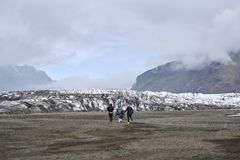 Tourist going to Glacial lagoon in Iceland Royalty Free Stock Photography