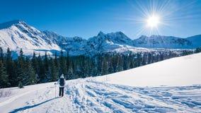 Tourist going to Hala Gasienicowa, Tatra mountans, Poland Stock Photo