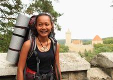 Tourist going to Kokorin castle Stock Image