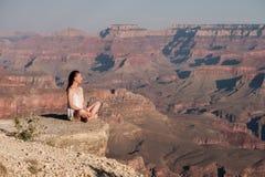 Tourist at Grand Canyon Royalty Free Stock Photo