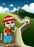 Tourist with great wall. Illustration vector royalty free illustration