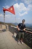Tourist in Great Wall, China Royalty Free Stock Image
