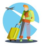A tourist in a green jacket, backpack and tourist bag. The concept of tourism. Vector illustration. Royalty Free Stock Image