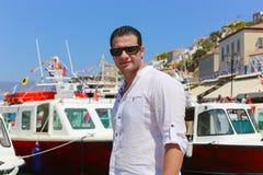 Tourist in Griechenland-Insel lizenzfreie stockfotografie