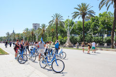 Tourist group on bicycles Stock Images