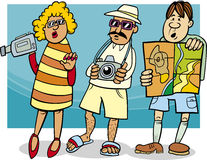 Tourist group cartoon illustration Stock Photography