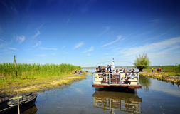 Tourist Group in the Danube Delta. A large group of tourists enjoying the beauty of the Danube Delta Stock Photo