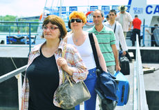 Tourist Group in the Danube Delta Stock Image