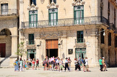 Tourist group in Havana, Cuba. Royalty Free Stock Images