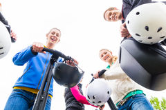 Tourist group having guided Segway tour. Tourist group having guided Segway city tour Stock Images
