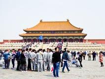 Tourist group inside Beijing Forbidden City Stock Photo