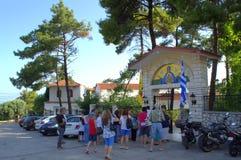 Tourist group at monastery Greece Stock Photos