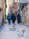 Tourist group visiting old town Tomis Constanta Stock Photos