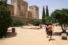 Tourist groups at Alcazaba Fortress, Alhambra Palace, Granada, Andalusia, Spain, Europe Stock Photos