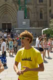 Tourist guide in Barcelona Royalty Free Stock Images