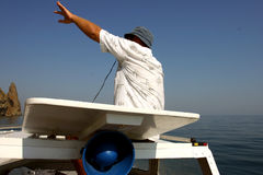 Tourist guide on the Black Sea Stock Images