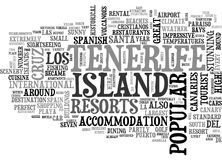 A Tourist Guide To Tenerife Word Cloud. A TOURIST GUIDE TO TENERIFE TEXT WORD CLOUD CONCEPT stock illustration