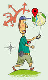 Tourist is guided on navigation in the smartphone. The tourist looks for the address in the smartphone Royalty Free Stock Image