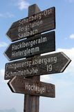 Tourist guidepost Stock Images