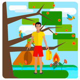 Tourist guy resting on nature. Tent, background Royalty Free Stock Photography